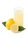 Lemon juice on a white background