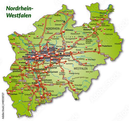 Landkarte von Nordrhein-Westfalen mit Autobahnnetz