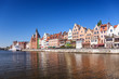 Panorama of the riverside Gdansk, Poland.
