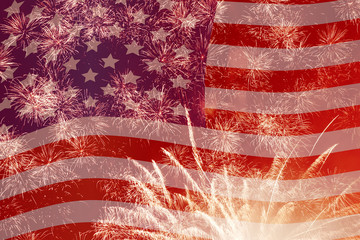 fireworks over United States flag