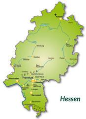 Landkarte von Hessen als Inselkarte