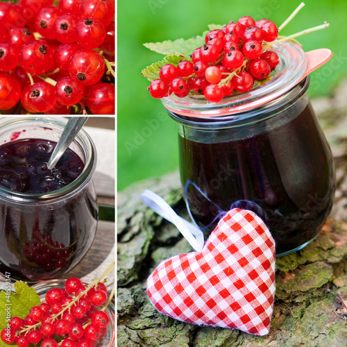 Red currant jam collage