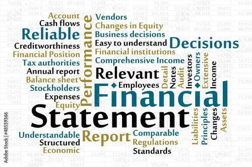 Financial Statement word cloud with data sheet background