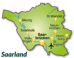 Landkarte von Saarland als Inselkarte