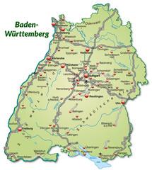 Landkarte von Baden-Württemberg mit Verkehrsnetz