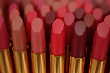 Lipsticks in an row.