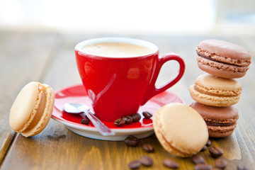 Hot espresso with french macarons