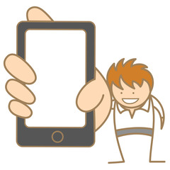 cartoon character of man showing message on cell phone