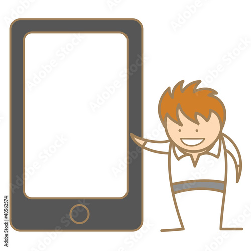 cartoon character of man presenting via cell phone