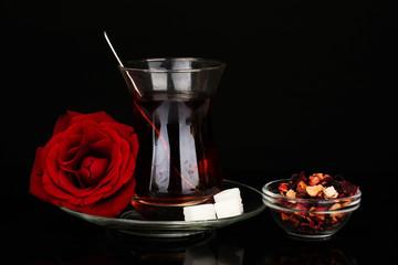 glass of Turkish tea isolated on black