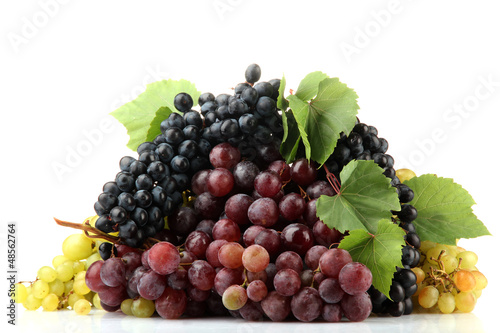 assortment of ripe sweet grapes isolated on white.