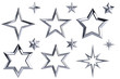 Golden stars collection isolated with clipping path