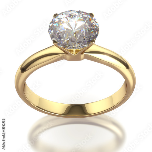 Diamond golden ring - isolated with clipping path.