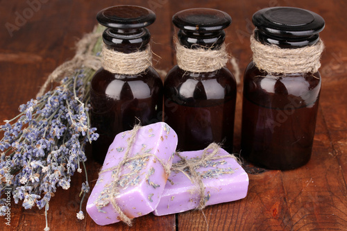Lavender flowers and jars