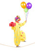 Happy male clown walking on a rope with bunch of balloons and pr