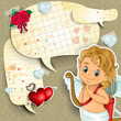 Cupid with cartoon paper