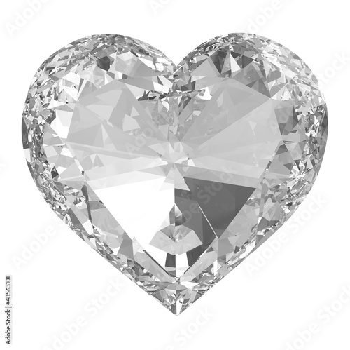 Diamond heart isolated with clipping path.