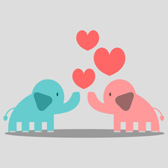 Cute couple of elephants in love