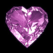 Purple diamond heart isolated on black BG with clipping path.