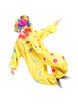 Full length portrait of a male clown jumping