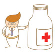 cartoon character of doctor talk about medicine
