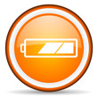 battery orange glossy icon on white background