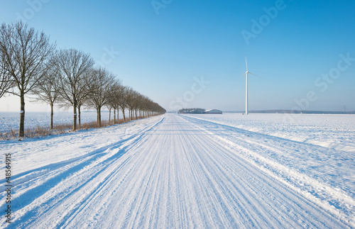 Snowy road in the countryside