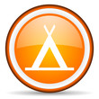 camping orange glossy icon on white background