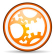 gears orange glossy icon on white background