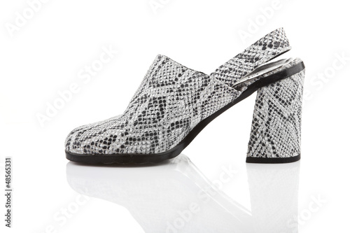 Snake leather women shoe, isolated on white