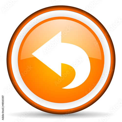back orange glossy icon on white background