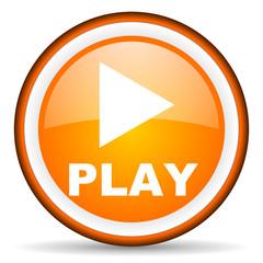 play orange glossy icon on white background