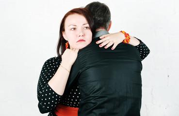 Woman comforting her man