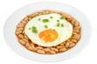 fried egg witn green onion and white beans in sauce