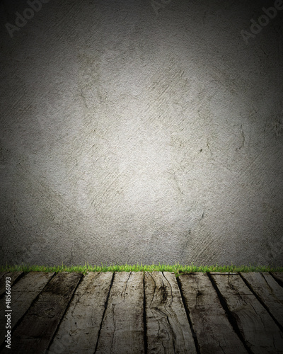 Wood and wall with grass # trash backgroud