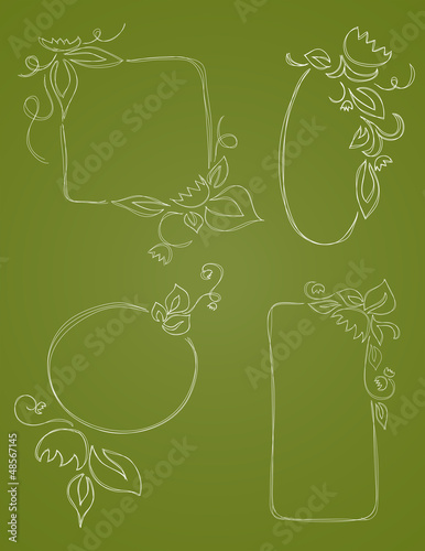 Hand Drawn Vector Leaf Borders