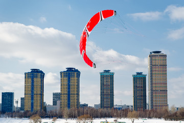 Snow kiting on a frozen lake in Moscow