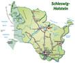 Landkarte von Schleswig-Holstein mit Verkehrsnetz