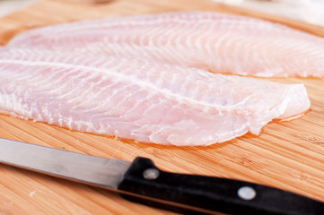 Defrosted fish fillets closeup