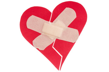 Broken heart with plaster