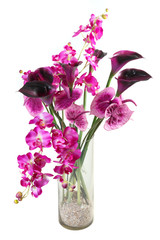 bouquet of artificial calla, orchid, anthurium
