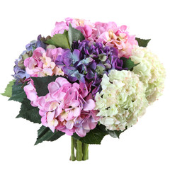 bouquet of artificial hydrangea on a white background