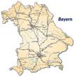 Landkarte von Bayern mit Verkehrsnetz