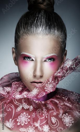 Stylish Woman with Creative Face - Art. Bright Purple Makeup