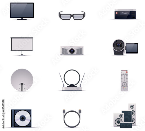 Vector video electronics icon set