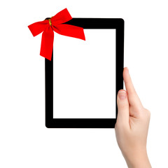 female hand holding a tablet with isolated screen and a red gift