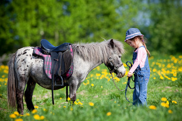 Child and small horse in the field at spring going to ride.