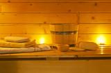 Fototapety interior of sauna and sauna accessories