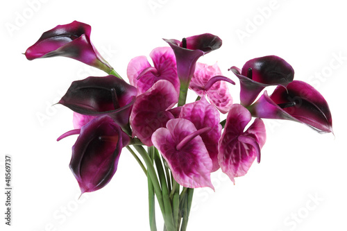 bouquet of artificial calla, anthurium on a white background