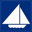 Schild blau - Segelboot